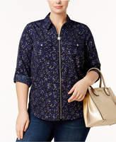 MICHAEL Michael Kors Size Zip-Front Utility Shirt
