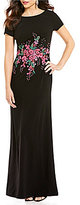 David Meister Beaded Embroidery Waist Crepe Gown