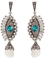 Alexander McQueen Crystal and pearl embellished eye earrings
