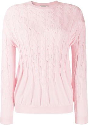 Nina Ricci Gathered Cable-Knit Jumper
