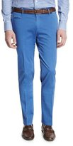 Isaia Flat-Front Cotton Trousers, Blue