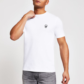 River Island White skull pique slim fit T-shirt