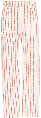 De La Vali Even Cowgirls striped text trousers
