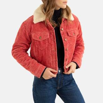 Pepe Jeans Cropped Corduroy Short Jacket with Faux Sheepskin Collar