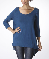 Bellino Teal Scoop Neck Sidetail Top