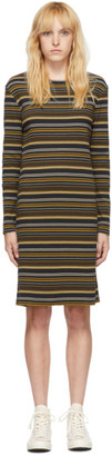 6397 Navy and Brown Striped Rib Dress