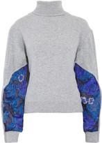 Preen by Thornton Bregazzi Samuel fil coupé-paneled marled-knit turtleneck sweater