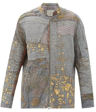 By Walid Patchwork Embroidered Vintage Silk Jacket - Grey