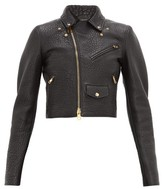 Bottega Veneta Cropped Tumbled-leather Biker Jacket - Womens - Black