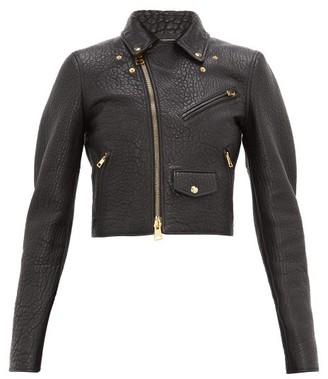 Bottega Veneta Cropped Tumbled-leather Biker Jacket - Black
