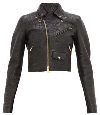 Bottega Veneta Cropped Tumbled-leather Biker Jacket - Womens - Black