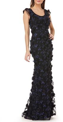Carmen Marc Valvo 3-D Floral Evening Dress