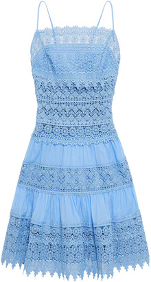 Charo Ruiz Ibiza Joya Crocheted Lace And Cotton-blend Voile Mini Dress