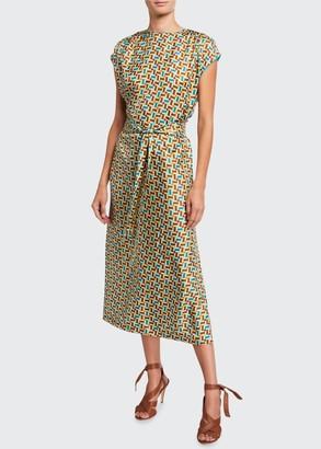 Loro Piana Dyra Mosaic-Print Silk Belted Dress