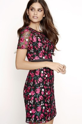 Girls On Film Pink Embroidered Dress