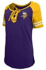 5th & Ocean Minnesota Vikings Women's Logo Lace Up T-Shirt