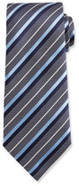 Ermenegildo Zegna Diagonal-Stripe Woven Silk Tie, Blue