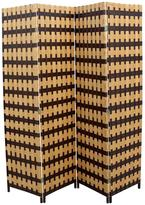 ORE International 70.75 in. x 0.75 in. 4-Panel Paper Straw Weave Screen Handcrafted Room Divider in Brown/Natural Brown