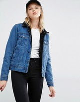 Dr. Denim Fleece Lining and Faux Shearling Collar Denim Jacket