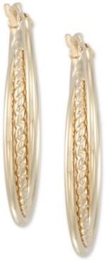 Italian Gold Rope-Inset Triple Hoop Earrings in 14k Gold, Made in Italy