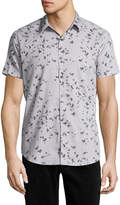 Theory Zack S. Leaflet Linen-Cotton Short-Sleeve Shirt, Gray