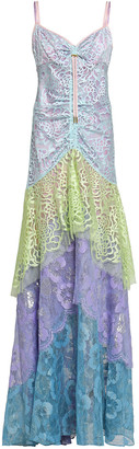 Peter Pilotto Tiered Color-block Lace Gown