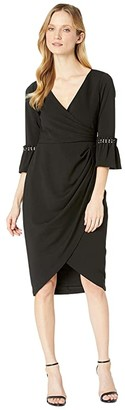 Adrianna Papell Pearl Sleeve Crepe Cocktail Dress (Black) Women's Dress