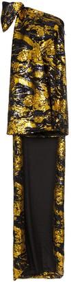 Halpern sequinned one-shoulder long-train dress
