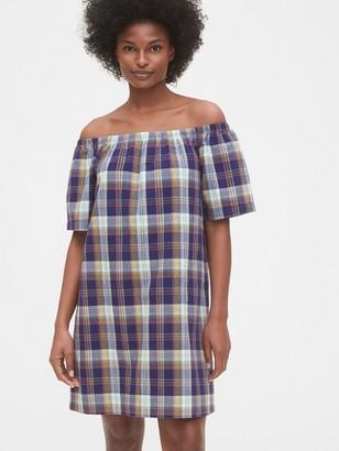 Gap Off The Shoulder Plaid Dress
