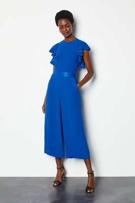 Karen Millen Frill Sleeve Crop Jumpsuit