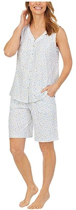 Carole Hochman Soft Jersey Sleeveless Bermuda Pajama Set (White Ditsy) Women's Pajama Sets