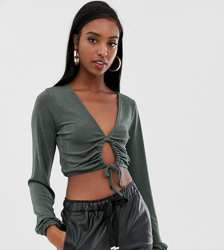 Asos DESIGN Tall slinky top with blouson sleeve and tie front detail