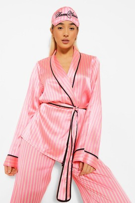 boohoo Matching Room Service Candy Stripe dressing gown and Mask Set