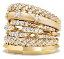 David Yurman Stax Five Row Ring with Diamonds in 18K Gold