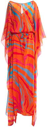 Roberto Cavalli Draped Printed Silk-chiffon Kaftan