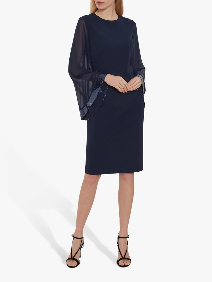 Gina Bacconi Hania Moss Crepe Embellished Dress