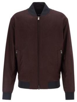 HUGO BOSS Blouson Style Bomber Jacket In Virgin Wool Flannel - Grey