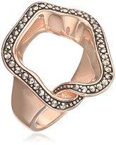Babette Wasserman Medium Rose Gold and Marcasite Open Flower Ring - Size N