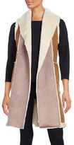 French Connection Color Blocked Faux Shearling Long Vest