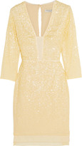 Halston Sequin-embellished chiffon mini dress
