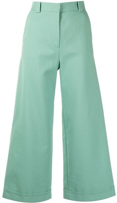 See by Chloe High-Rise Wide-Leg Cropped Trousers