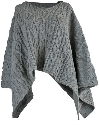 Zut London Hand Knitted Cable Hooded Poncho - Grey