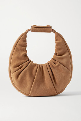 STAUD Moon Mini Ruched Suede Tote - Brown
