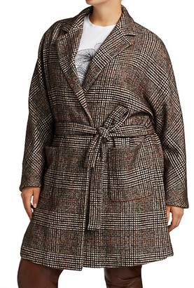 Marina Rinaldi, Plus Size Treno Plaid Short Coat