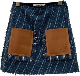 Loewe Navy Wool Skirt for Women