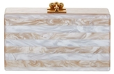 Edie Parker Jean Striped Nude and White Clutch