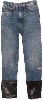 R 13 Axl Slim Jean with Cuff in Kelly/Leather