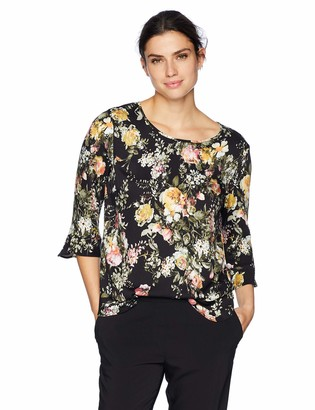 Tribal Women's 3/4 Sleeve Floral Blouse with Ruffle Detail
