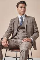 Mens Next Taupe/Red Skinny Fit Check Suit: Jacket - Brown