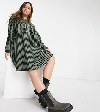 ASOS DESIGN Curve super oversized long-sleeved smock dress in khaki and black stripe